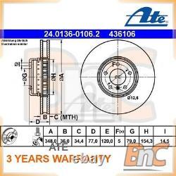 2x ATE FRONT BRAKE DISC BMW 5 E60 5 TOURING E61 6 CONVERTIBLE E64 6 E63 OEM