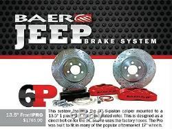 BAER Brake System 13.5 Front PRO 6P Kit Red / Black for 07-18 Jeep Wrangler JK