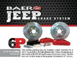 BAER Brake System 13.5 Front PRO 6P Kit Silver / Red for 07-18 Jeep Wrangler JK