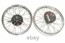 Triumph 350 Front Rear Wheel Rim With Brake System + Stainless Steel Spokes