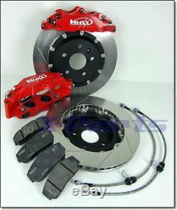 Vmaxx 12.99in 4 Piston Sport Brake System + Brake Hoses VW Golf 2 16V VR6 Turbo