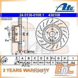 2x Ate Front Brake Disc Mercedes-benz Oem 24013601081 2044211212