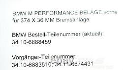 34106888459 Oem Bmw 8er G14 G15 G16 M850ix 840dx M Garnitures De Frein Performance 0km