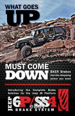 Baer Système De Freinage 13,5 Avant Pro 6p Kit Rouge / Noir Pour 07-18 Jeep Wrangler Jk