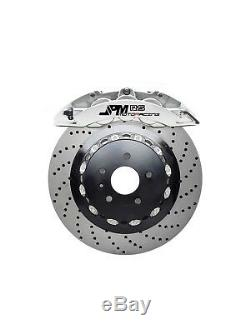 Jpm Forged Rs Big Brake Caliper 6pot Anodisée Argent 355/32 Drill Pour Disque A4 B8
